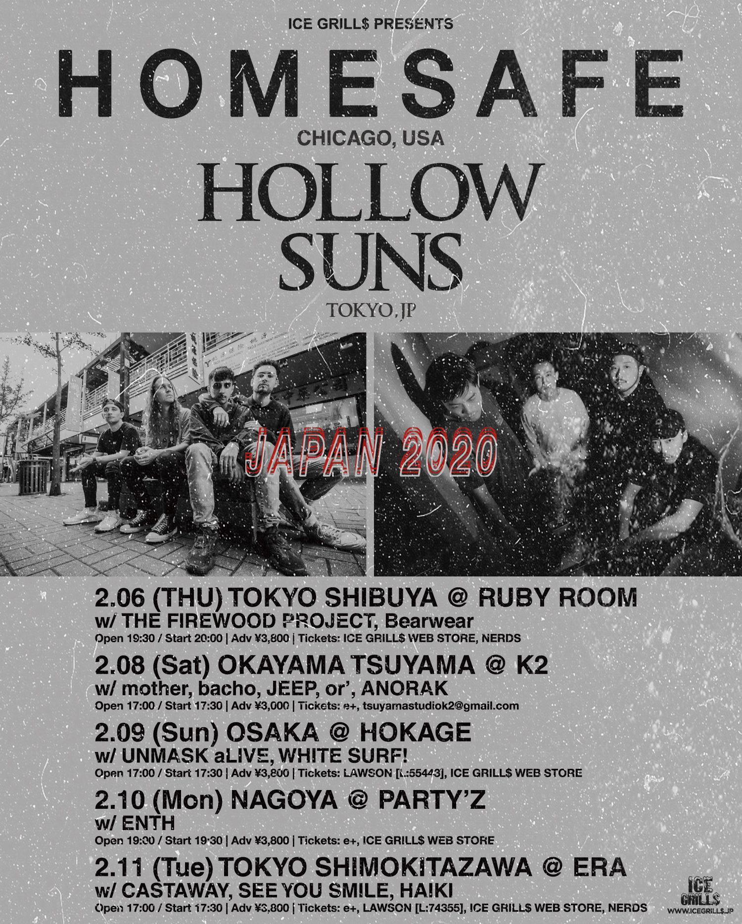 ICE GRILL$ PRESENTS HOMESAFE / HOLLOW SUNS Japan Tour 2020